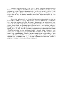 Bağımsız YK Üyesi bilgi notu ve detaylı özgeçmiş bilgileri