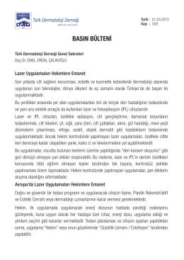 basın bülteni - Türk Dermatoloji Derneği