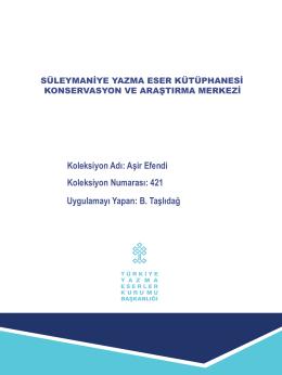 Aşir Efendi 421 - Süleymaniye Yazma Eser Kütüphanesi