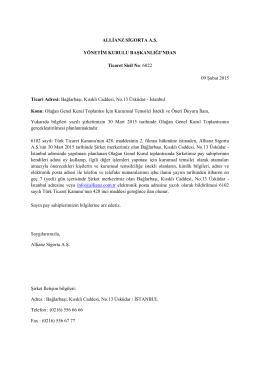 30.03.2015 tarihli Olağan Genel Kurul Toplantısı