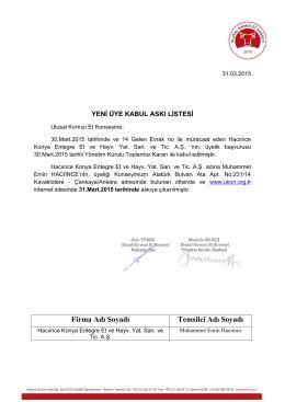 30 Mart 2015 Ulusal Kırmızı Et Konseyi Yeni Üye Kabul Askı Listesi