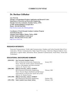 Dr. Burhan G¨ulbahar