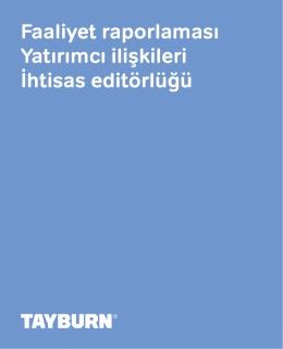 Tayburn 2015 - Raporlama, Yatırımcı İlişkileri ve Editörlük