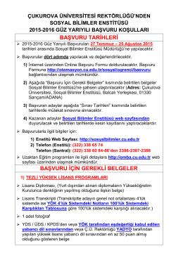 2015-2016 Güz Yarıyılı Başvuru Koşulları