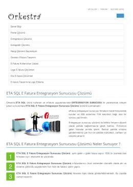 ETA SQL E Fatura Entegrasyon Sunucusu Çözümü,ETA SQL,E