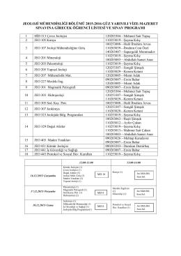 jeoloji mühendisliği bölümü 2015-2016 güz yarıyılı vize