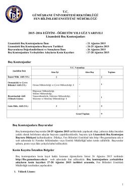 tc gümüşhane üniversitesi rektörlüğü fen bilimleri enstitüsü