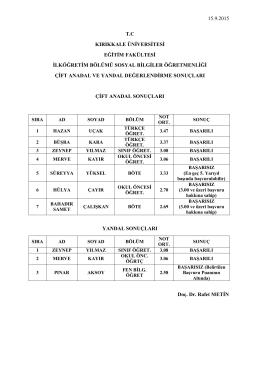 15.9.2015 tc kırıkkale üniversitesi eğitim fakültesi ilköğretim bölümü