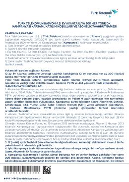 türk telekomünikasyon a.ş. ev avantajlıya 300 her yöne dk