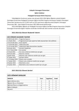 GÜZ DÖNEMİ DERSLERİ - Osmangazi Üniversitesi