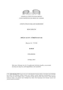 AİHM, 26 Mayıs 2015 tarihli Doğan Altun/Türkiye