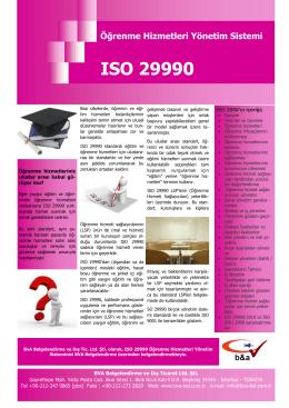 Öğrenme Hizmetleri Yönetim Sistemi ISO 29990