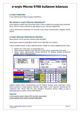 e-arşiv Micros 9700 kullanım kılavuzu - Protel E
