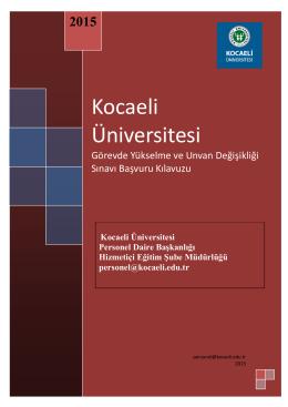 Kocaeli Üniversitesi Görevde Yükselme ve Unvan Değişikliği Sınavı
