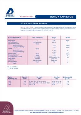 EPDM jeomembran teknik değerleri