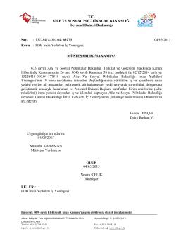 T.C. AİLE VE SOSYAL POLİTİKALAR BAKANLIĞI Personel Dairesi