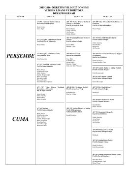 2015-2016 Lisanüstü Ders Programı