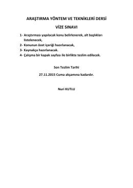 araştırma yöntem ve teknikleri dersi vize sınavı