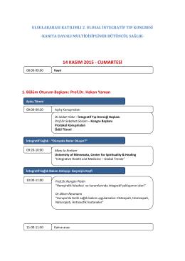 2. Ulusal İntegratif Tıp Kongresi Programı
