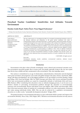 Preschool Teacher Candidates` Sensitivities And Attitudes Towards