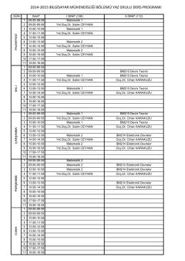 2014-2015 bilgisayar mühendisliği bölümü yaz okulu ders programı