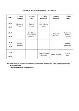 İşletme TYL 2015-2016 Güz Dönemi Vize Programı