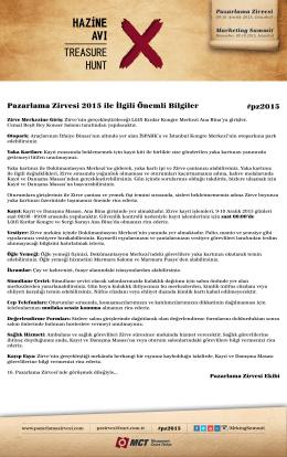 Pazarlama Zirvesi 2015 ile İlgili Önemli Bilgiler #pz2015