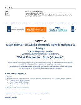 DAVETİYE Yaşam Bilimleri ve Sağlık Sektöründe İşbirliği