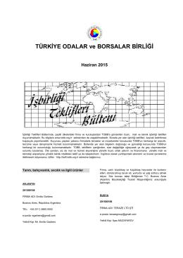 2015 Haziran (pdf-255 Kb) - Dünyadan İşbirliği Teklifleri