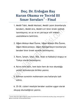 Doç. Dr. Erdoğan Baş Kuran Okuma ve Tecvid III