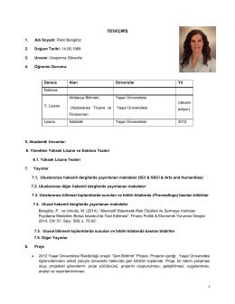 özgeçmiş - Yaşar Üniversitesi   Uluslararası Ticaret ve Finansman