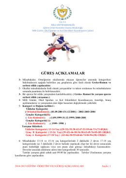 Güreş 2015-2016 Müsabaka Talimatları