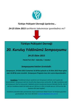 TPD 20. Yıl Sempozyumu - Türkiye Psikiyatri Derneği