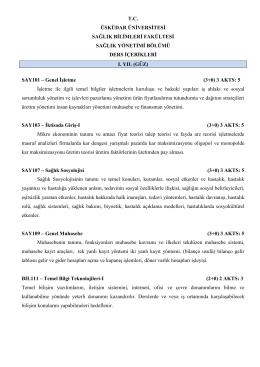 Sağlık Yönetimi Ders İçerikleri - Sağlık Bilimleri Fakültesi