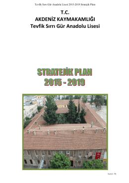 Stratejik Plan - Tevfik Sırrı Gür Anadolu Lisesi