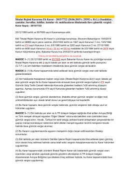 İthalat Rejimi Kararına Ek Karar - 2015/7722 (20.06