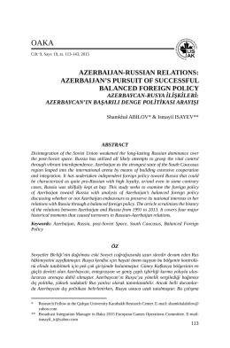 Azerbaijan`s Pursuit of Successful Balanced Foreign Policy