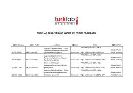 turklab akademi 2015 kasım ayı eğitim programı