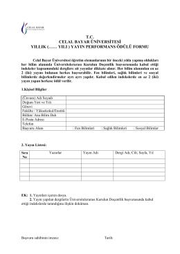 yayın performans ödülü formu