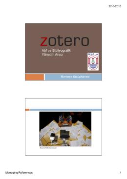 Zotero Bibliyografik Yönetim Aracı Sunumu