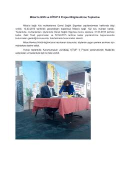 Milas`ta GSS ve KİTUP II Projesi Bilgilendirme Toplantısı