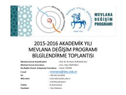 2015-2016 Akademik Yılı Mevlana Değişim Programı Koordinatörler