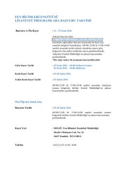 fen bilimleri enstitüsü 2015-2016 bahar yarıyılı lisansüstü