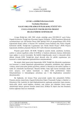 T.C ADANA VALİLİĞİ Çevre ve Şehircilik İl Müdürlüğü ÇEVRE ve