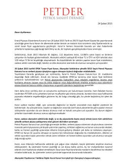2015 ŞubatPETDER Tavan Fiyat Kararına ilişkin Basın Açıklaması