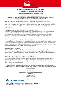 2015 RecExpo Fuar Öncesi Basın Bülteni
