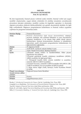 FİNANSAL EKONOMETRİ - ISEF-2015