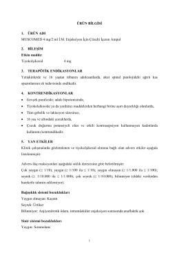 ÜRÜN BİLGİSİ 1. ÜRÜN ADI MUSCOMED 4 mg/2