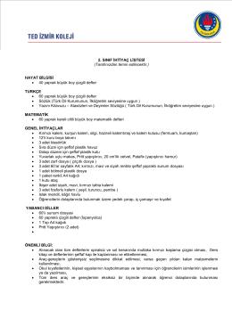 ilkokul 2. sınıf ihtiyaç listesi