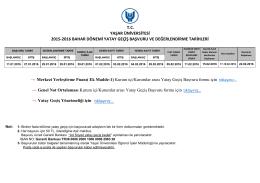 2015-2016 Bahar Dönemi Yatay Geçiş Başvuru ve Değerlendirme